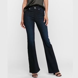Express Slim Flare High Rise Jeans Dark Blue 4 Nwt